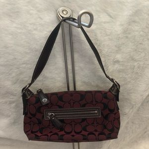 Coach burgundy and brown mini bag
